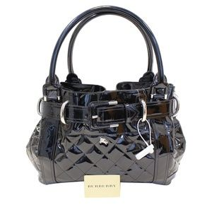 BURBERRY Black Quilted Patent Leather Beaton Tote